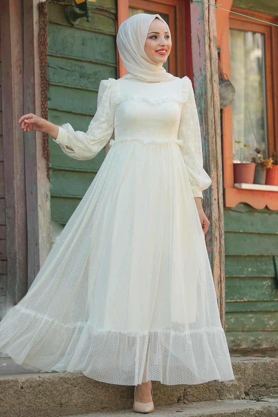 Tesettürlü Abiye Elbise - Puantiyeli Ekru Tesettür Abiye Elbise 38730E - Tesetturisland.com