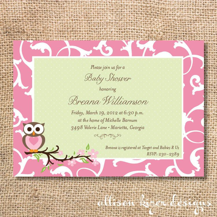 Baby Shower\/Owl ideas para fiestas Pinterest Pink, Babies - how to word baby shower invitations