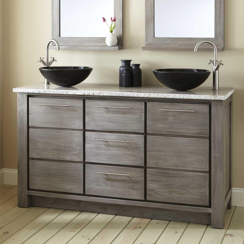60 venica teak double vessel sinks vanity gray wash bathroom with rh pinterest com Home Depot Bath Vanities and Cabinets 36 Inch Bathroom Vanity with Top