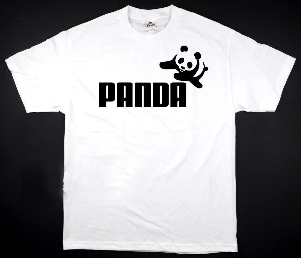 Panda Puma - White T-Shirt Funny Humor Logo New Awesome All Sizes ...