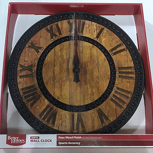 Better Homes And Gardens Rustic Wooden Wall Clock #Better #Clock #Gardens # Homes