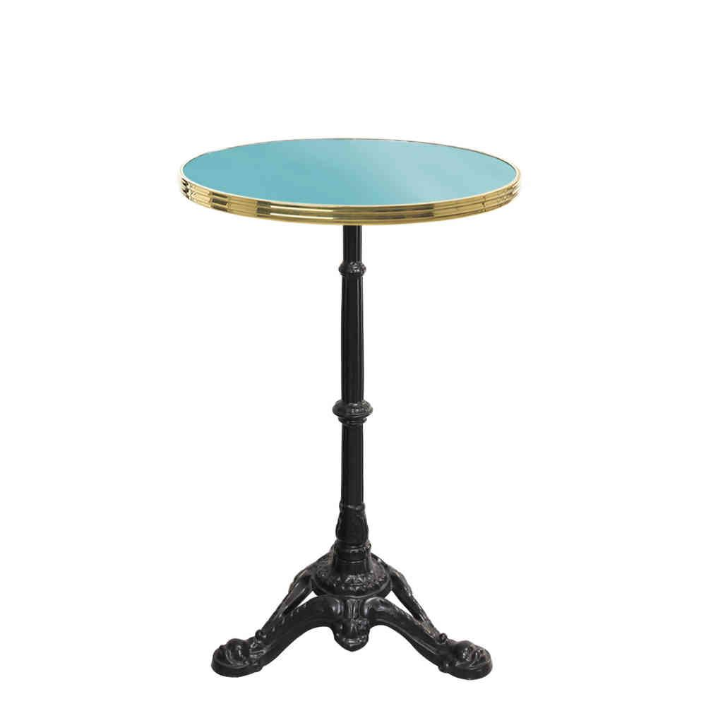 Table De Bistrot Ronde Emaillee Bleu Turquoise Gueridon Emaille Bistro Table Table French Enamel