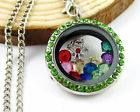 Silver Round Floating Locket w/ Peridot Colored Gems $12.50 + shipping (Charms & Chain sold separately)