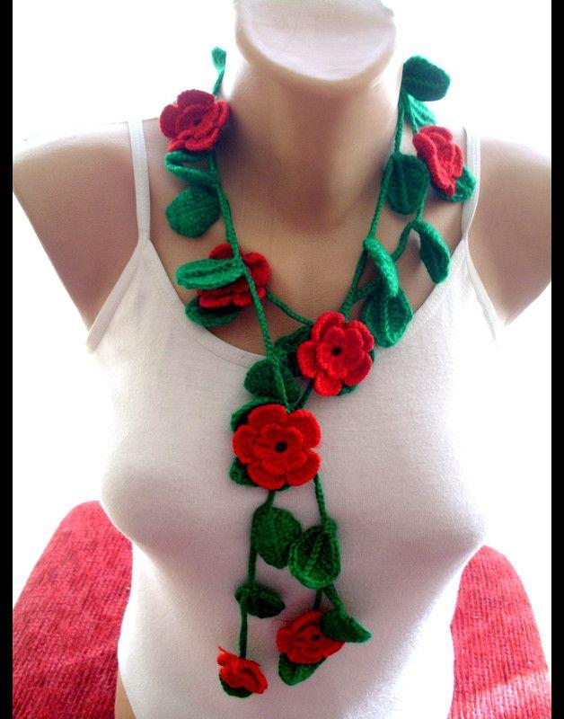 Crochet Blume und Blatt Schal , Häkeln Schmuck   Erdbeerherz ...