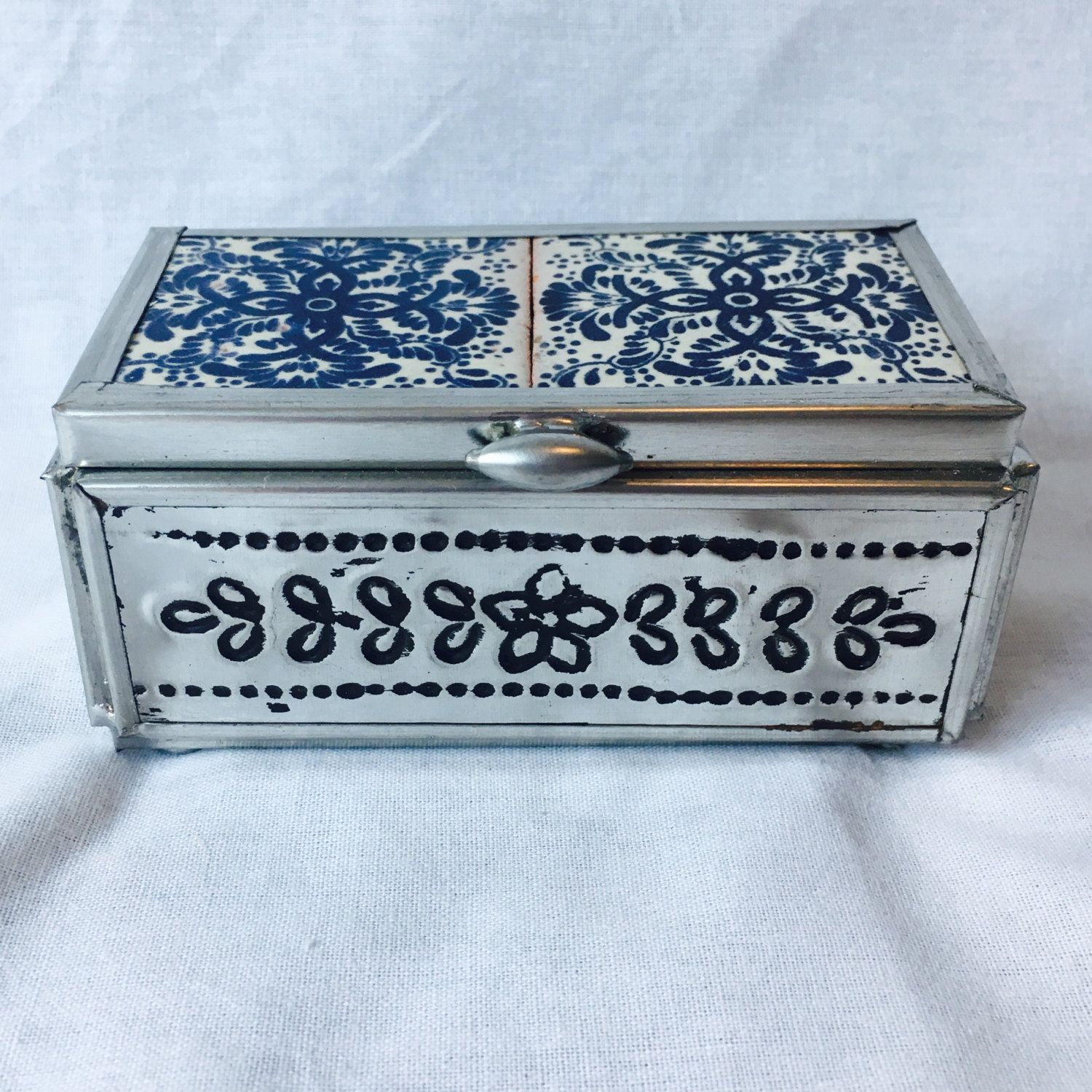 Blue and White Traditional Talavera Tile and Tin Jewelry Box - 2 Tiles with Mirror Inset - FREE SHIPPING! by TexMexFunStuff on Etsy