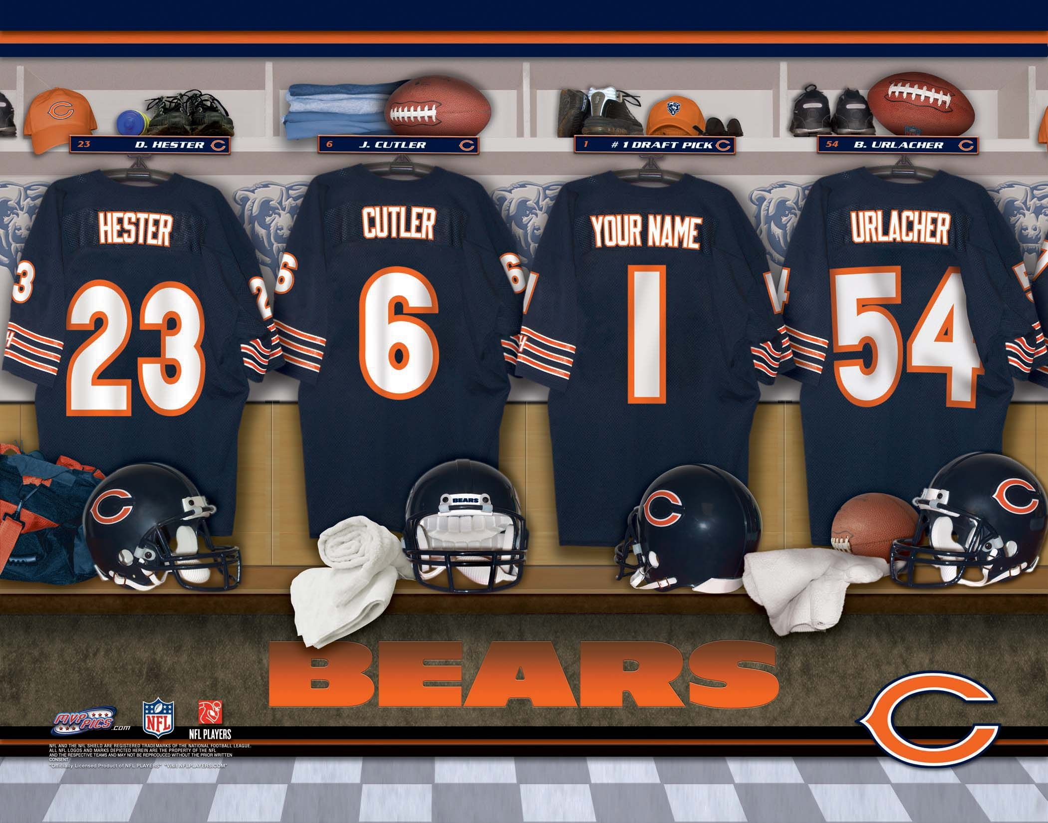 chicago bears pictures | CHICAGO BEARS NFL LOCKER ROOM PRINT ...
