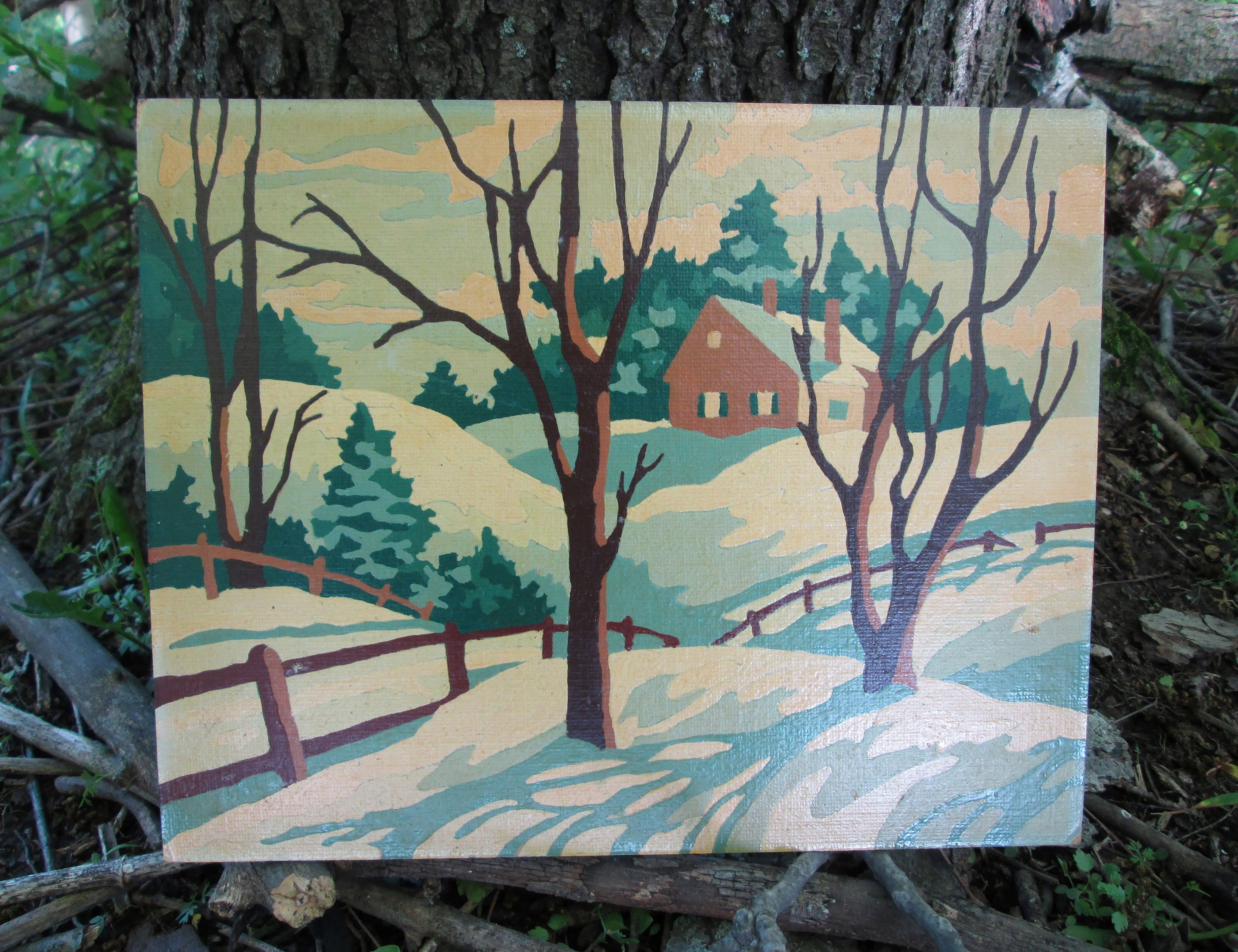 Vintage Paint by Number House Fence Winter Snow 1953 Craft Master ...