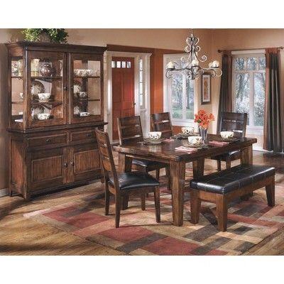 Larchmont Large Upholstered Dining Room Bench Wood Burnished Dark Brown