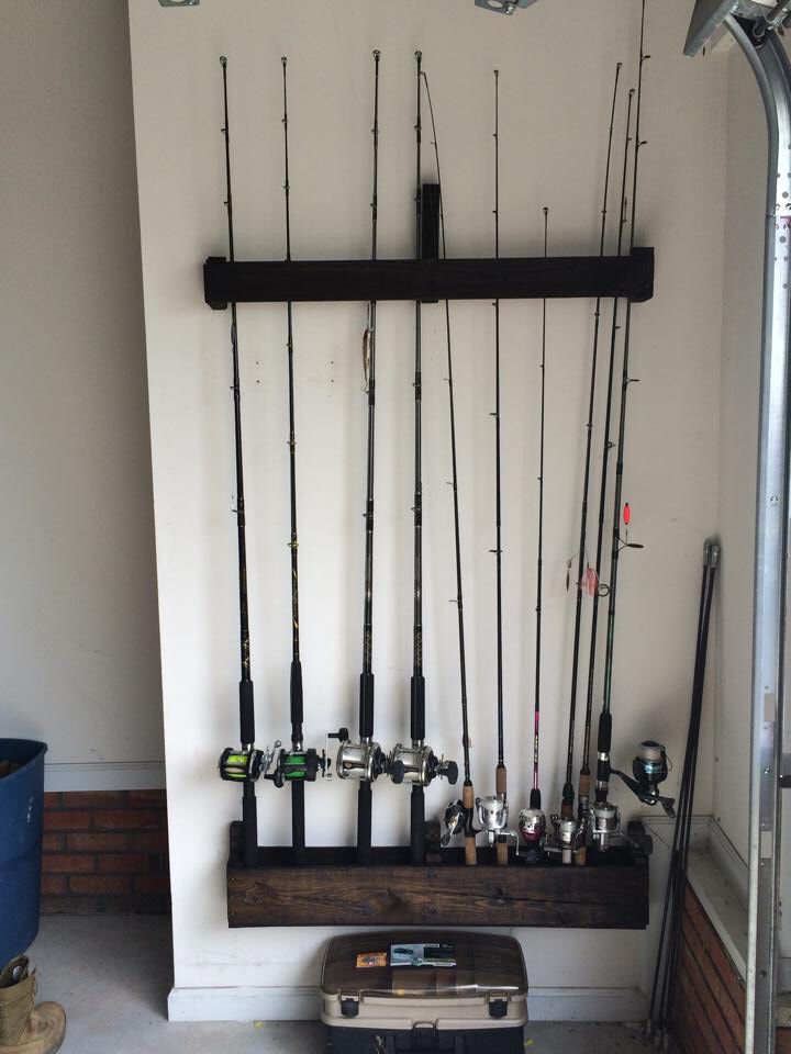 Fishing rod holder from a pallet.   Fishing rod storage ...