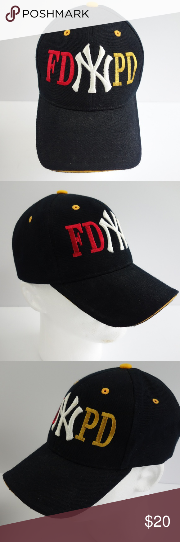 750f43759a62d New York FD and PD Embroidered Black Baseball Cap This is an embroidered  New York Fire Department (FD) and Police Department (PD) black adjustable  baseball ...