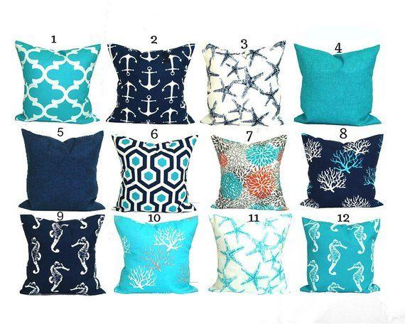 Nautical Pillows Nautical Pillow Covers Aqua Pillow Covers