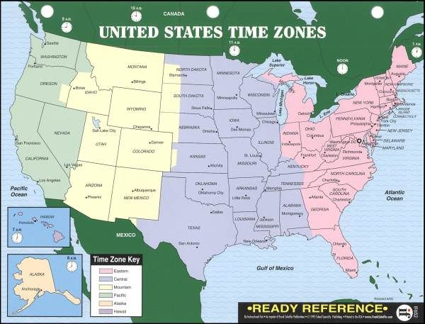 Ready Reference US World Maps With Time Zones - Printable us time zone map with cities
