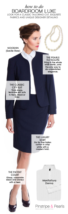 How to do Boardroom Luxe - get work style inspiration and shop beautiful business outfits at PinstripeandPearls.com
