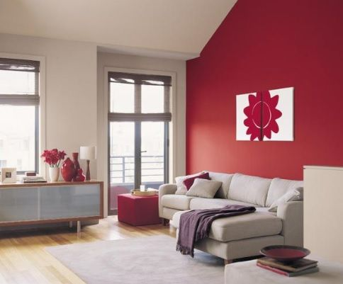 Red Feature Wall To Warm The Room Paint Colors For Living Room Home Room Design Burgundy Living Room