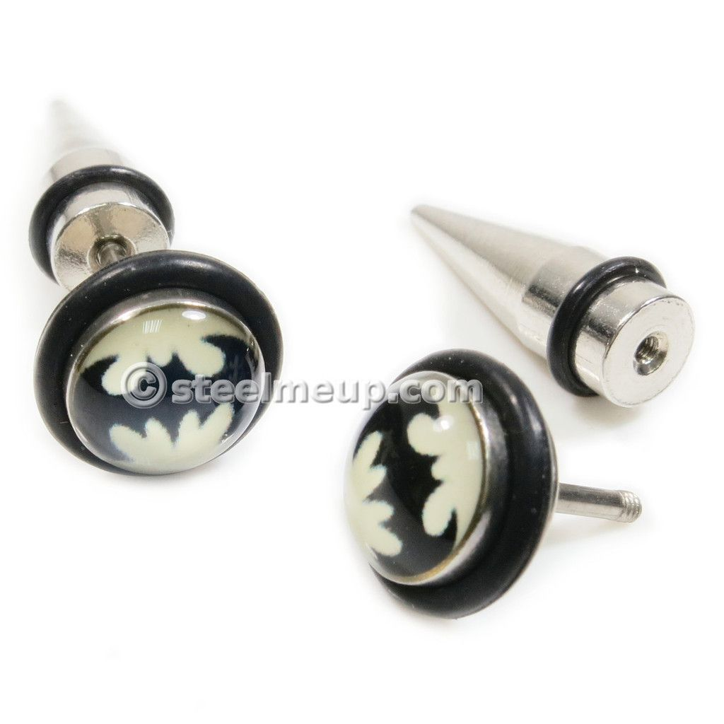 Pair Stainless Steel Bat Screw Stud Earrings Fake Stretcher
