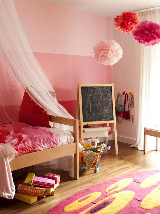 Wall stripes and pompoms and a canopy #kids #decor