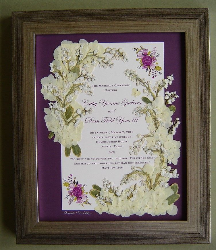 Pressed Wedding Flowers: Bridal Bouquet Pressed And Arranged Around Wedding Program