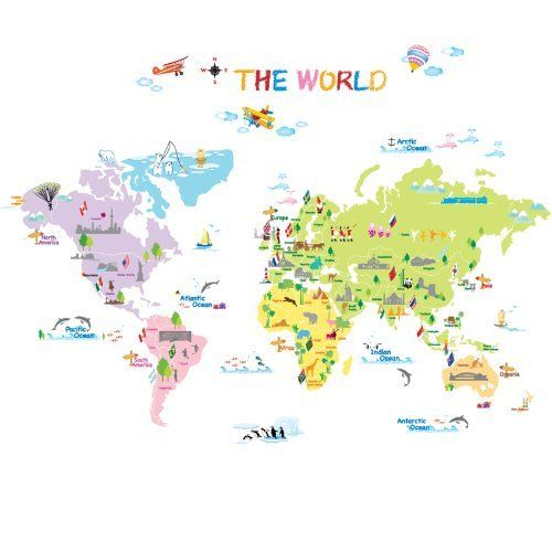 dw 1203 multicoloured world map wall stickers kids wall decals wall transfers wall tattoos wall. Black Bedroom Furniture Sets. Home Design Ideas