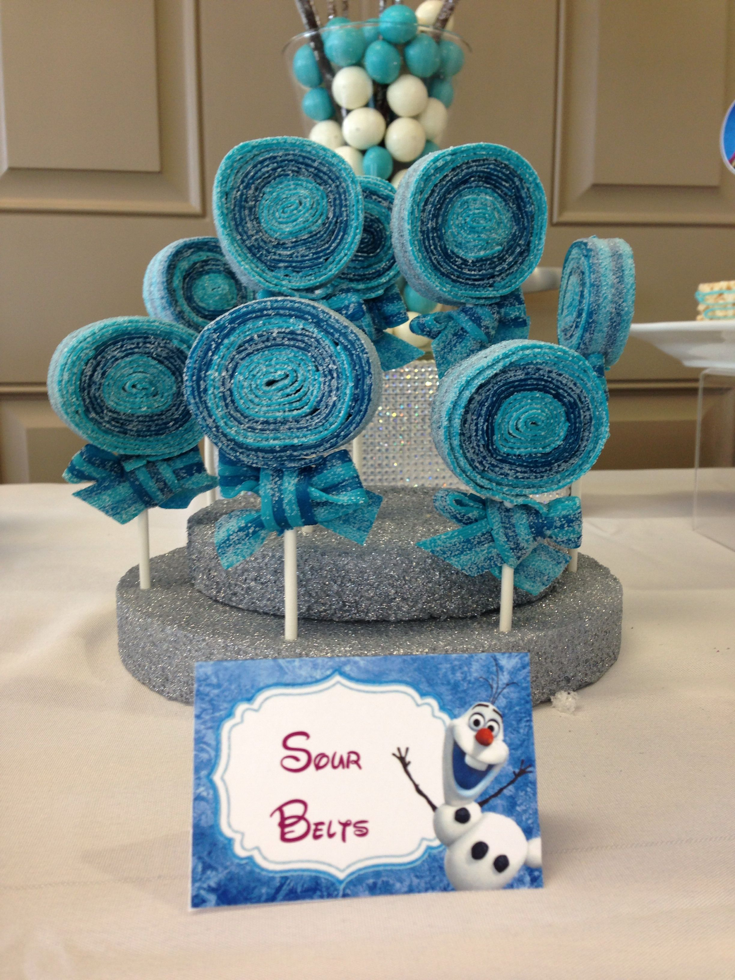 Disney Frozen Birthday Party Candy Table Sour Belt Lollipops I Love This Idea Frozen Tea Party Frozen Birthday Theme Frozen Birthday Party