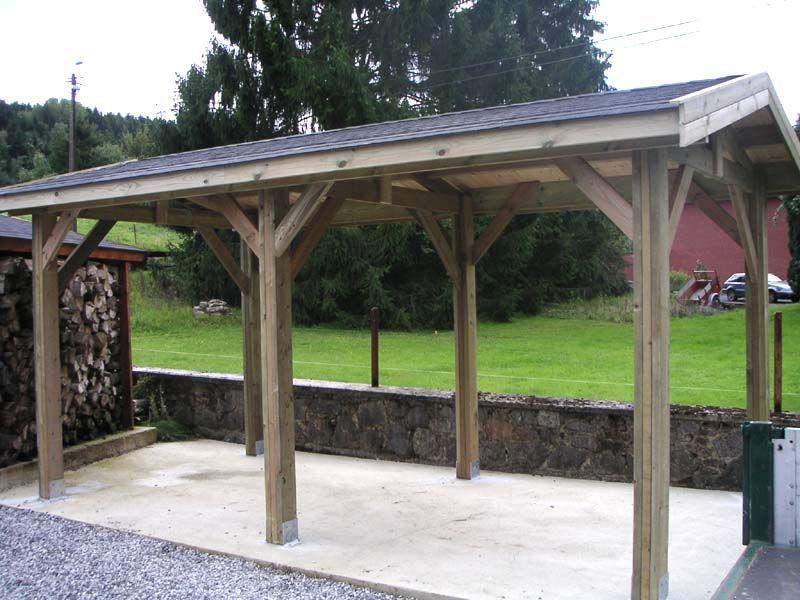 Carport de 15m² Construction bois, Appentis, Voiture en bois
