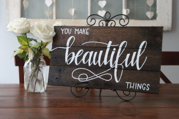 Beautiful Things Brown Plaque by KeenaAlyceDesigns on Etsy