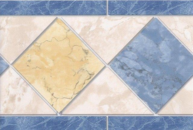 Blue Yellow Cream Tiles Wallpaper Border Tile Wallpaper Wallpaper Border Cream Tile