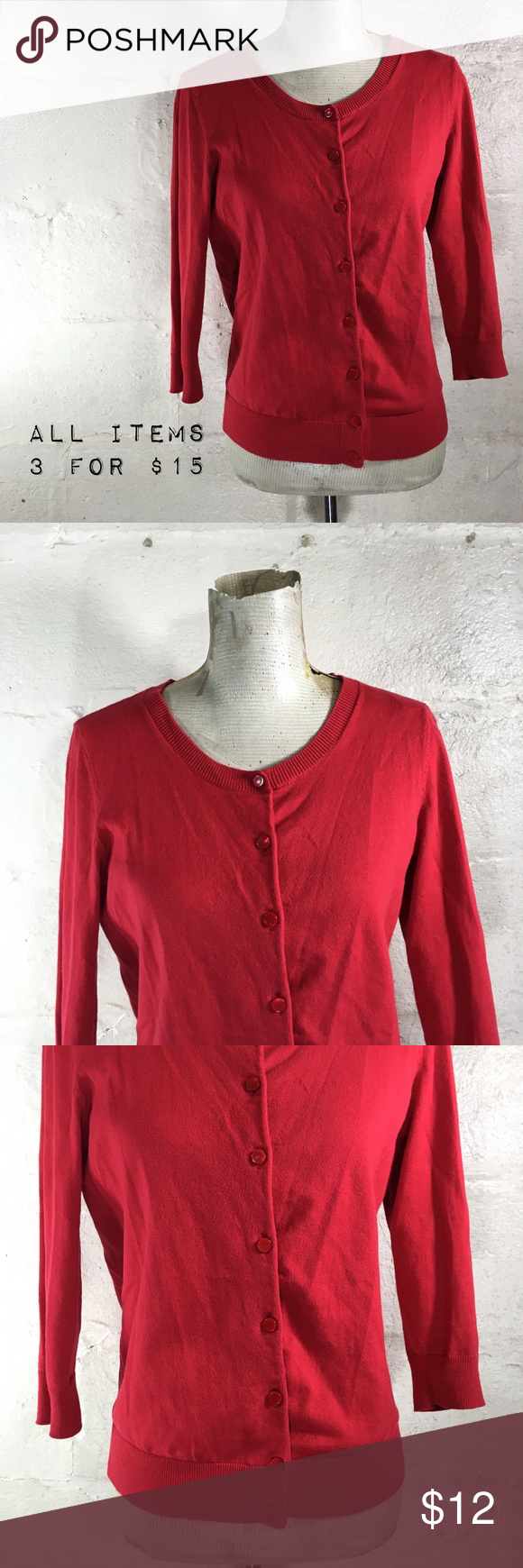Talbots Apple Red Cropped Cardigan Sweater | Talbots