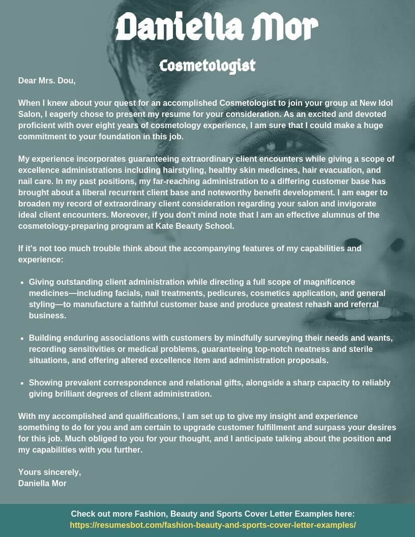Cosmetologist cover letter samples templates pdfword