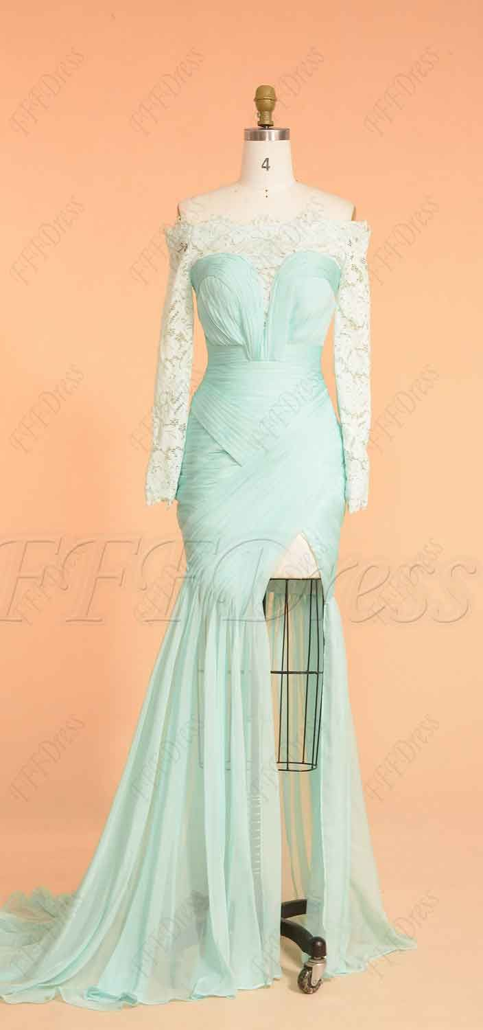 Mint green backless pageant evening dress with slit in prom