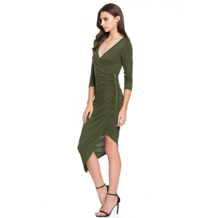 Bodycon Solid 3/4 SLEEVE DEEP V NECK DRESS WITH SIDE ZIPPER