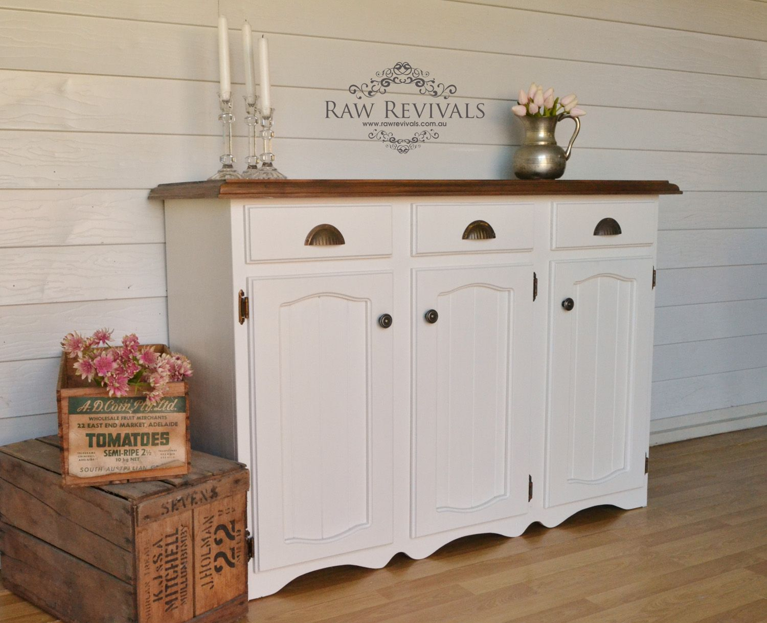 French Provincial Country Style Hand Painted Buffet. Upcycled Sideboard.  Furniture DIY Www.rawrevivals.com.au