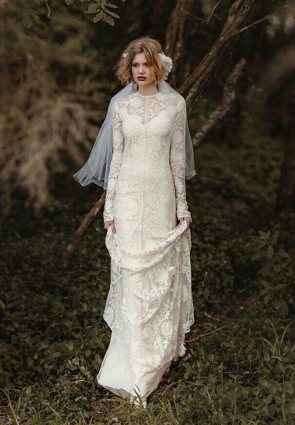 "{""Chloe"" by Rue de Seine, Long Sleeve Lace Column/Sheath Bridal Gown With Jewel Neckline & Chapel Length Train····················································}"
