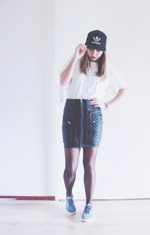 Fall outfit  Quilted leather skirt and Adidas cap  ef70ee1e4e3