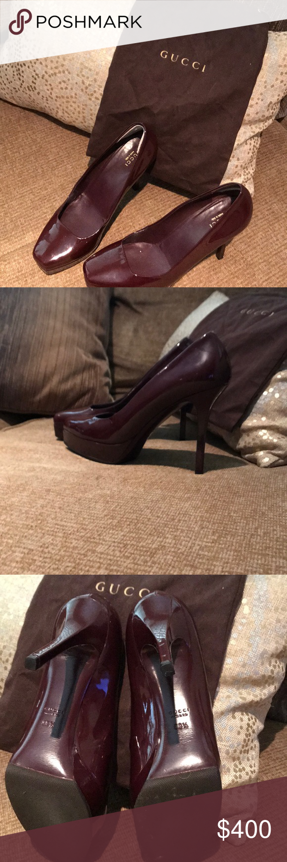 9e2403001 Gucci pumps size 38 1/2 8 Authentic Gucci plum pumps Brand new upper heel  Cushing removed in excellent conduction. Gucci Shoes Heels