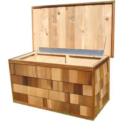 Greenstone 100 Gallon Cedar Deck Box Gsacdb The Home Depot Cedar Deck Deck Box Outdoor Storage Sheds