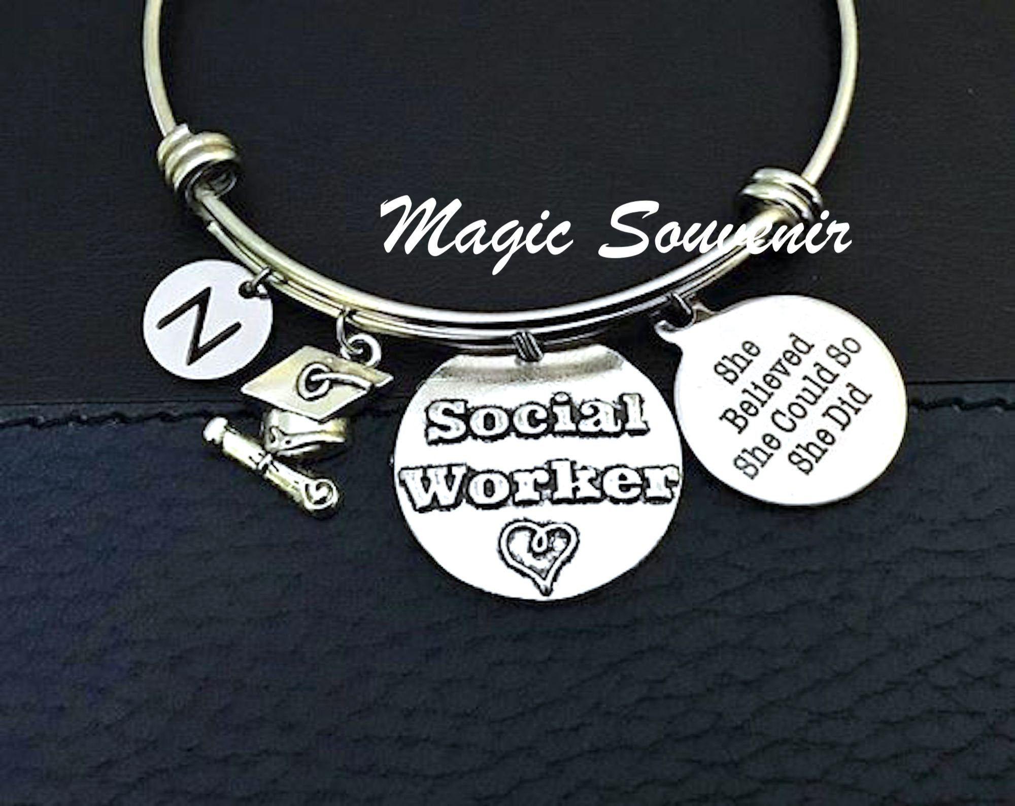 Graduation social worker bangle bracelet gift