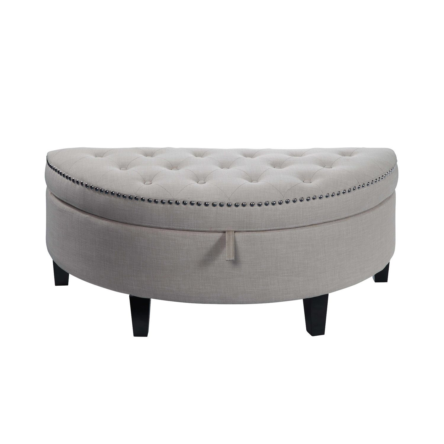 Semi Circle Gray Storage Ottoman Possibly For The Bedroom With
