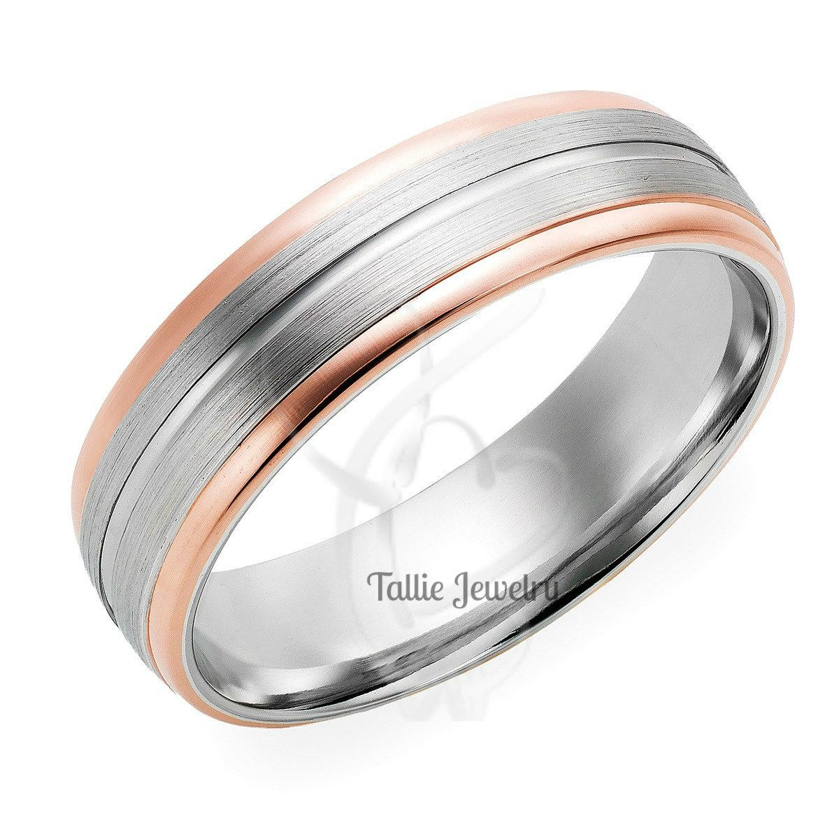 titanium of tone bands toned two for ring with rings photo him wedding view