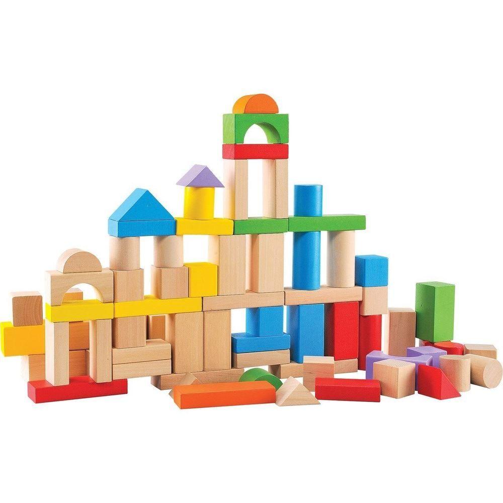 80-Piece Wooden Building Blocks Set Kids Toddler Preschool Learning Toys Bricks - Wooden buildings - 웹
