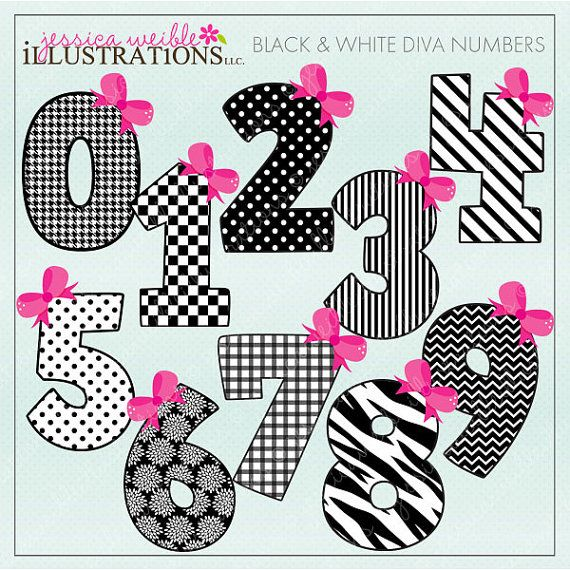Black White Diva Numbers Cute Digital Clipart For Invitations