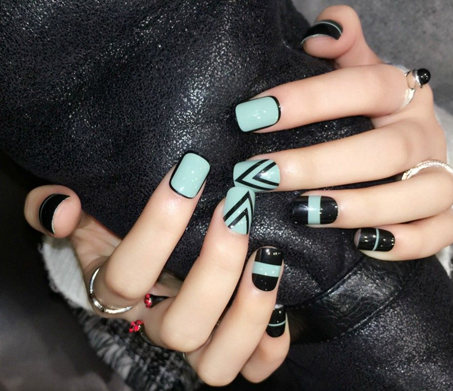 24pcslot New Design Faux Ongles Green Cute Fake False Nails Fashion