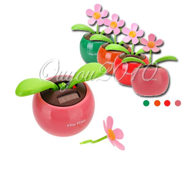 ca54dfeab Flip Flap Moving Dancing Solar Power Flower Flowerpot Swing Solar Car Toy  Gift Home Decorating Plants Free Shipping(China (Mainland))
