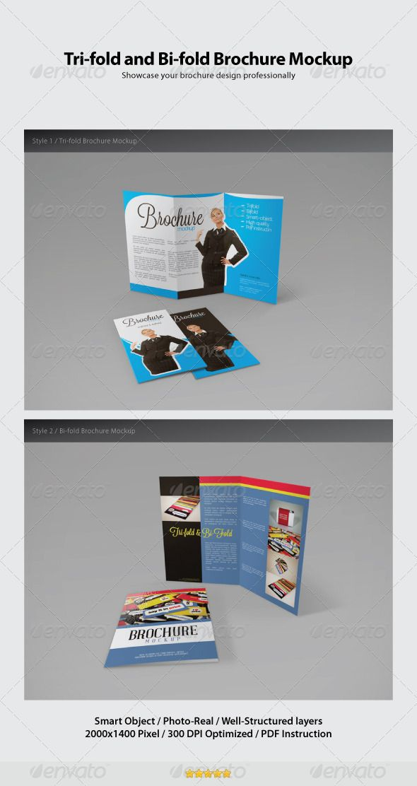 trifold and bifold brochure mockup photoshop psd bi fold clean