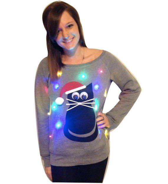 Womens Ugly Christmas Sweater Cat Light Up Swoop Neck
