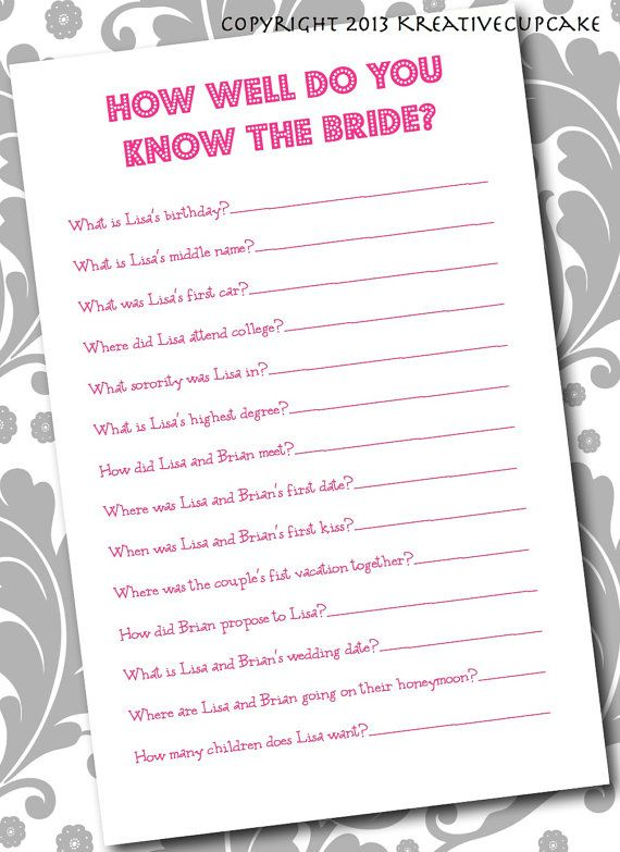 diy printable bridal shower game how well do you know the bride printing service optional on etsy 2000