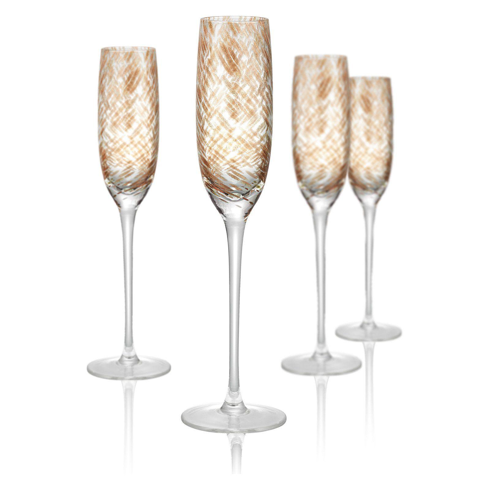 Artland Misty Champagne Flutes Set Of 4 Clear