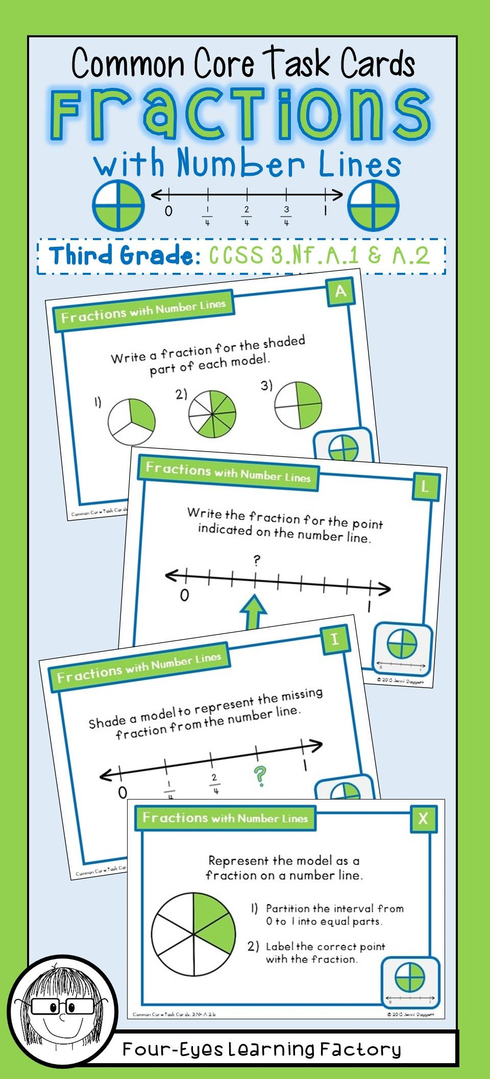 Common Core Task Cards Fractions With Number Lines Third