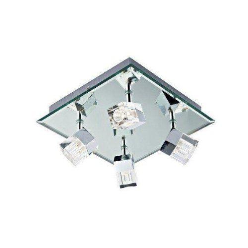 Dar Log8550 Led Logic Led Bathroom 4 Lamp Square Plate Spot Light Polished Chrome Ip44 Ceiling Lights Bathroom Ceiling Light Led Bathroom Lights