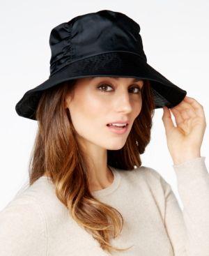 1abcedcdcd5 Totes Women s Ruched Wide Brim SunGuard Rain Hat - Black