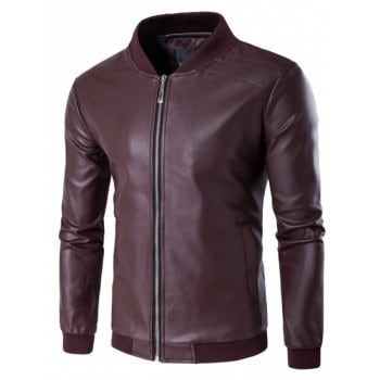 Fall Stand Collar Casual Faux Leather Inside Pocket Patchwork Giacca bomber da uomo